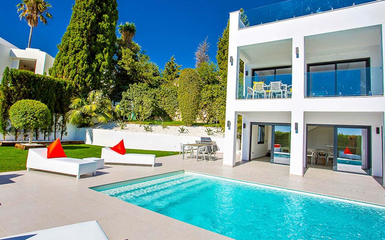 Modern pool in reformed Spanish villa in Puerto Banus, Marbella