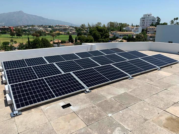 Solar panels on penthouse in Marbella Costa del Sol