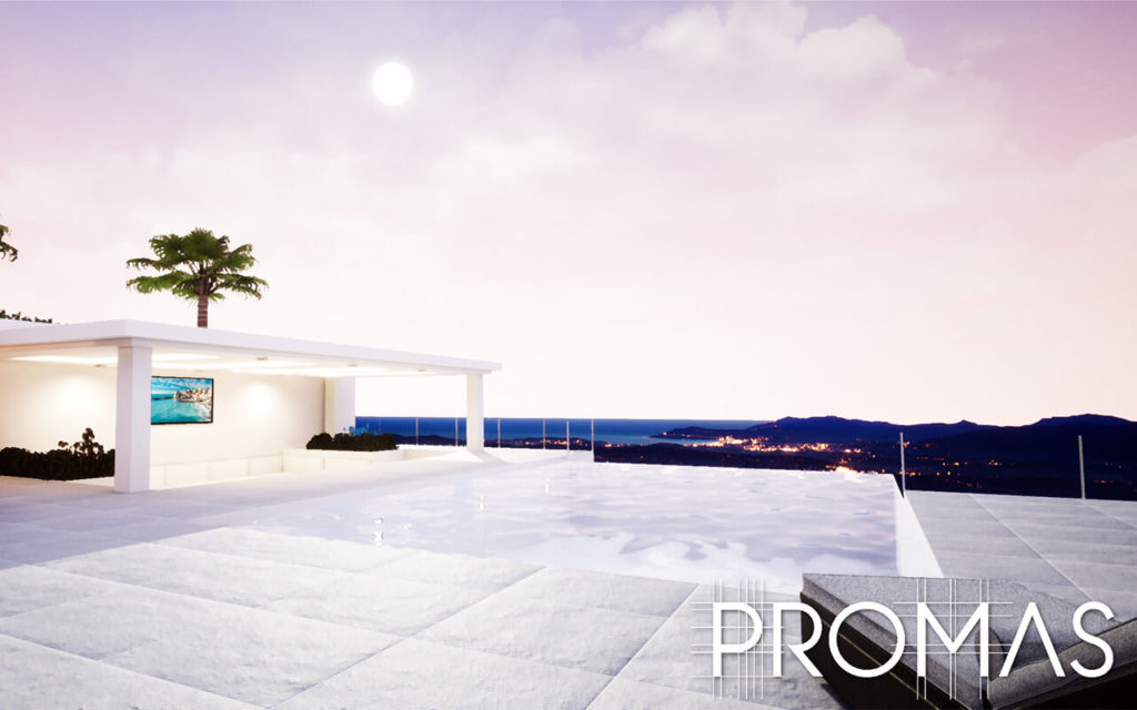3d image stylish infinity pool rooftop sunset