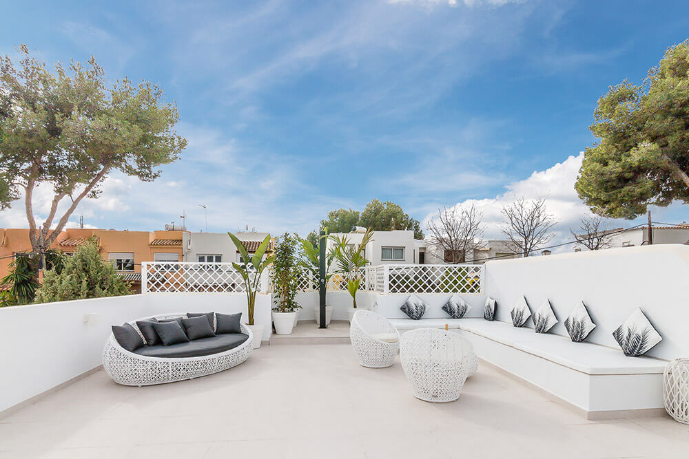 stylish spanish rooftop quality designer white furniture with outdoor shower