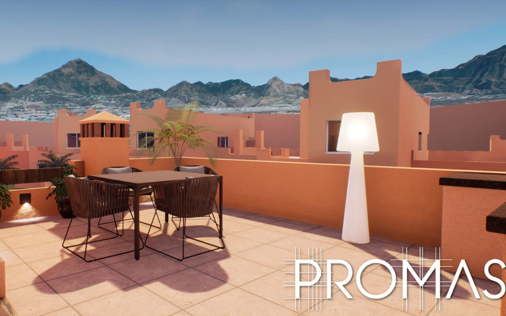 styish spanish rooftop with mountains