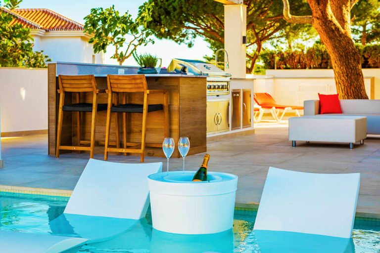 luxurious pool chair chill out zone marbella