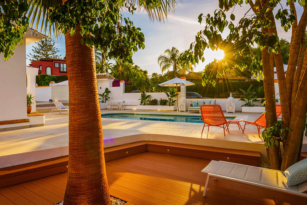 divine and luscious relax zone and pool in marbella