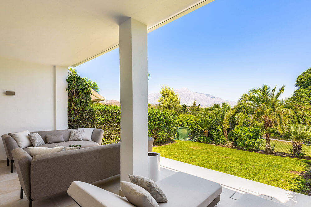 relaxing porch in garden with mountain views marbella