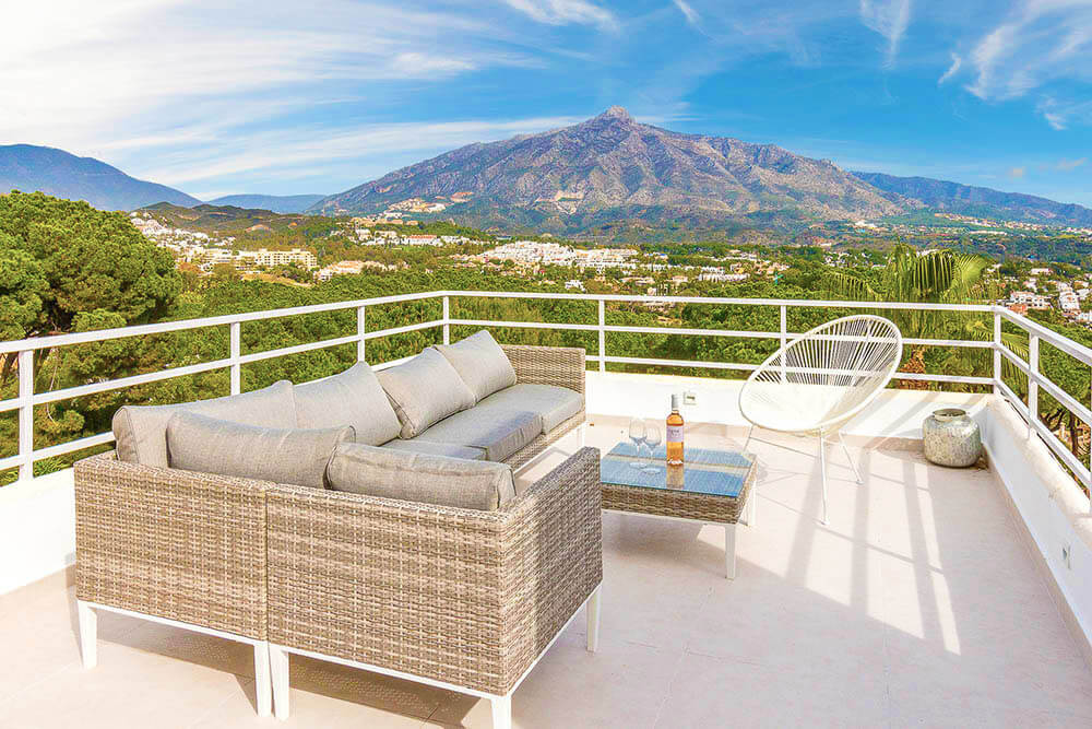 Stylish and quality outdoor sofa with beautiful views of mountain