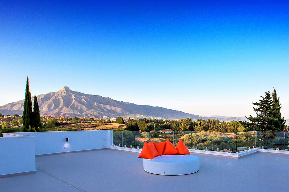 luxury rooftop retreat mountain views