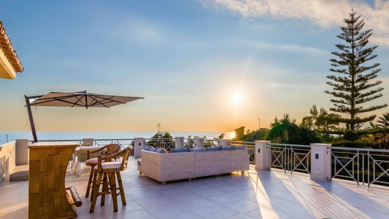 stylish rooftop with luxury timber bar and stunning views