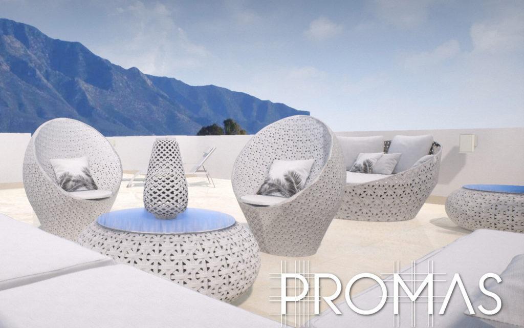 stunning white luxury rooftop near mountain