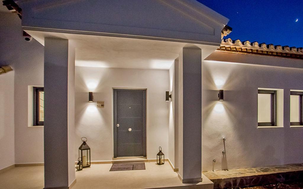White villa porch at night in Costa del Sol