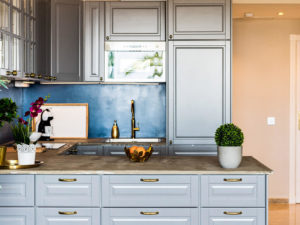 Stylish blue and grey kitchen in Marbella