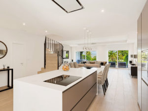 Stylish contemporary kitchen open plan to living room