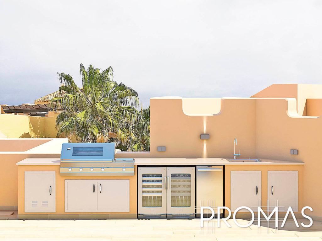 Outdoor kitchen 3d Design on Spanish rooftop in Marbella
