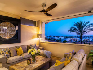 Bi-fold windows from living room opening to views in Costa del Sol