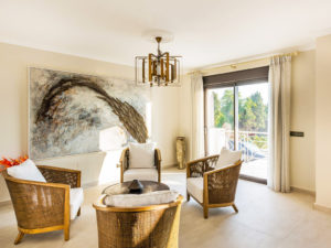 Relaxed beige and weaved chairs in Costa del Sol