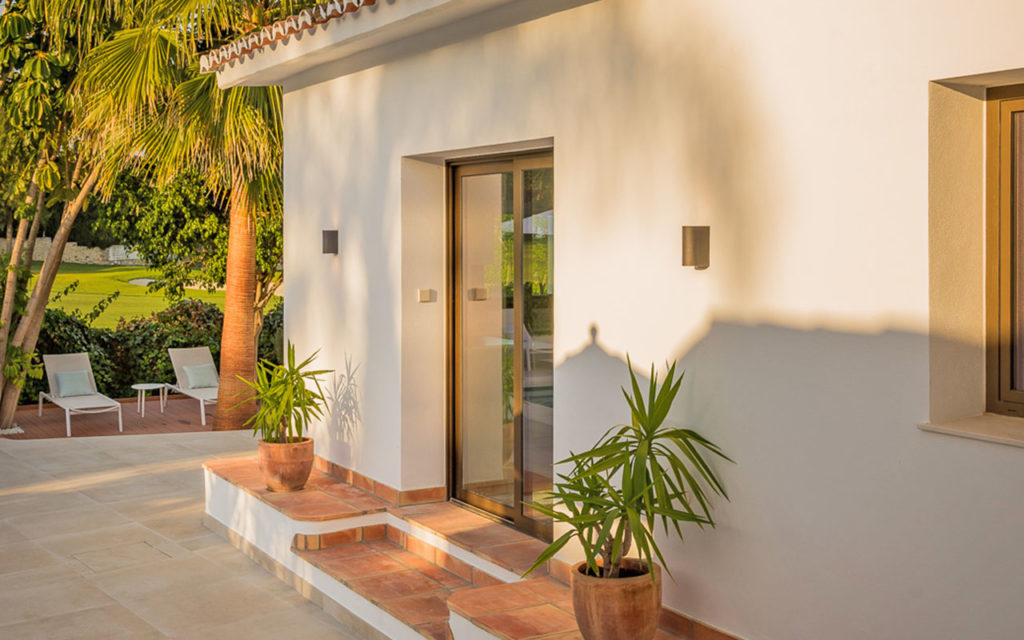 Classy clay tile entrance to villa in San Pedro, in the Costa del Sol