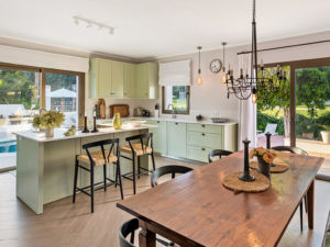 stylish timber and green kitchen on costa del sol