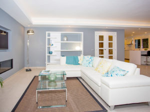 Classy white and blue lounge space Marbella