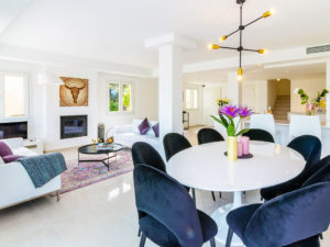 Contemporary Stylish white and blue and purple dinning and living area in Marbella