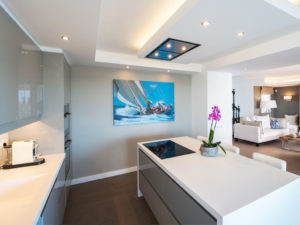 Contemporary grey kitchen with island in Marbella