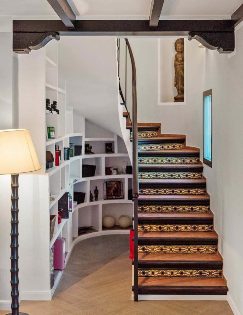 Traditional Andalusian steps with moorish tiles in Costa del Sol