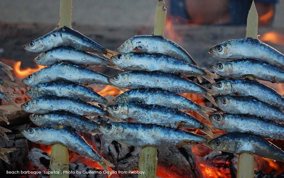 Espetos. Spanish barbeque sardines typical from Andalucía