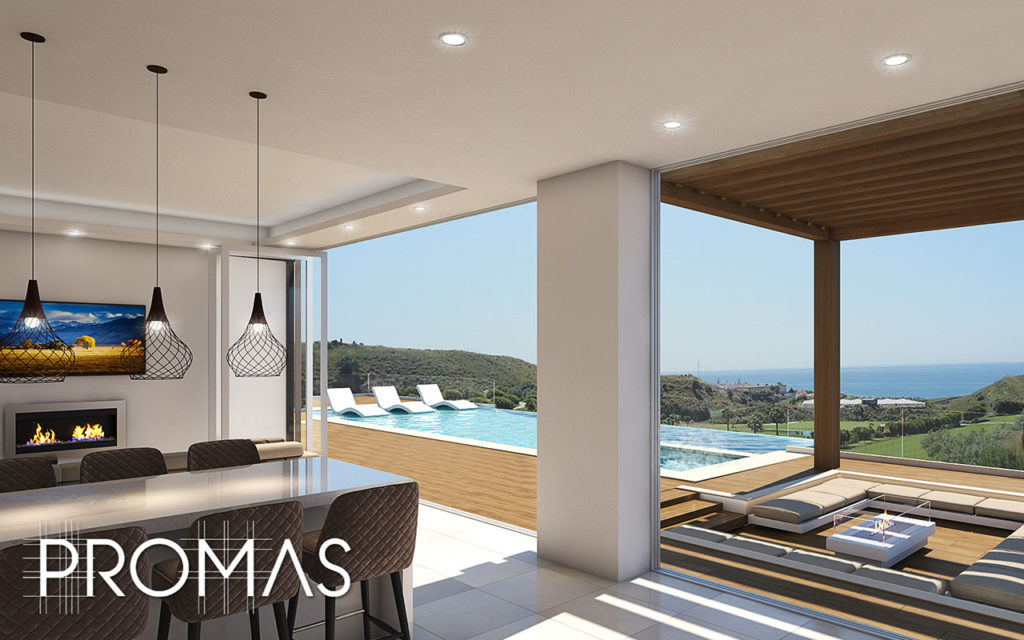 Stunning ProMas 3d model of cosy living room and pool overlooking the Costa del Sol in Marbella