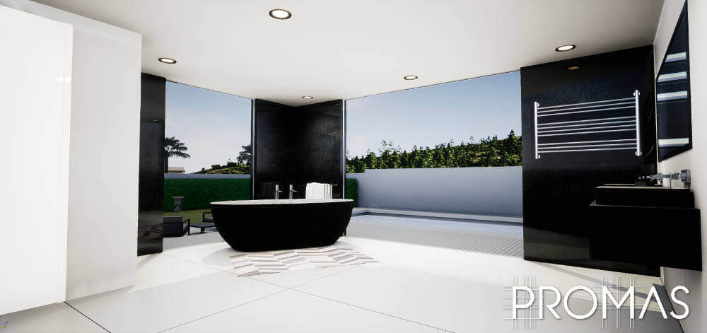 Stylish modern black and white bathroom with black walls and standalone bath and full windows in the Costa del Sol