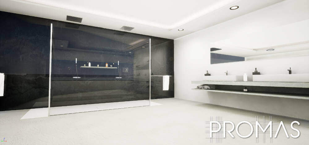 Sleek black and white spacious bathroom with double sink in Puerto Banus