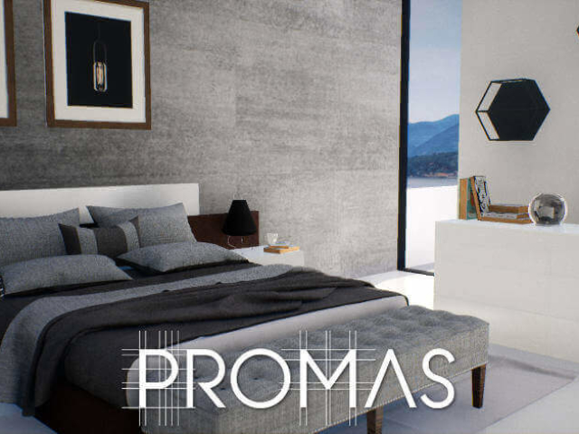 3D design for stylish black and white bedroom suite with hexagonal wall shelves in the Costa del Sol