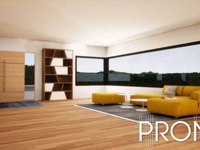 3d design warm timber floors with yellow couch and geometric design shelves in Marbella