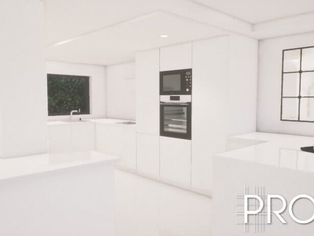 3d design for modern white kitchen in Costa del Sol
