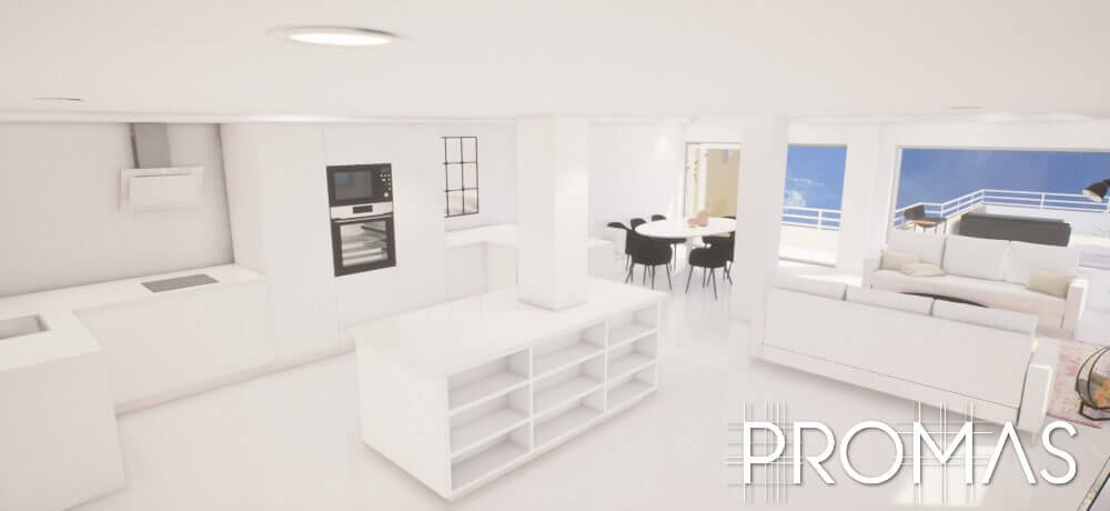 ProMas 3d design of built white open plan living and dinning area