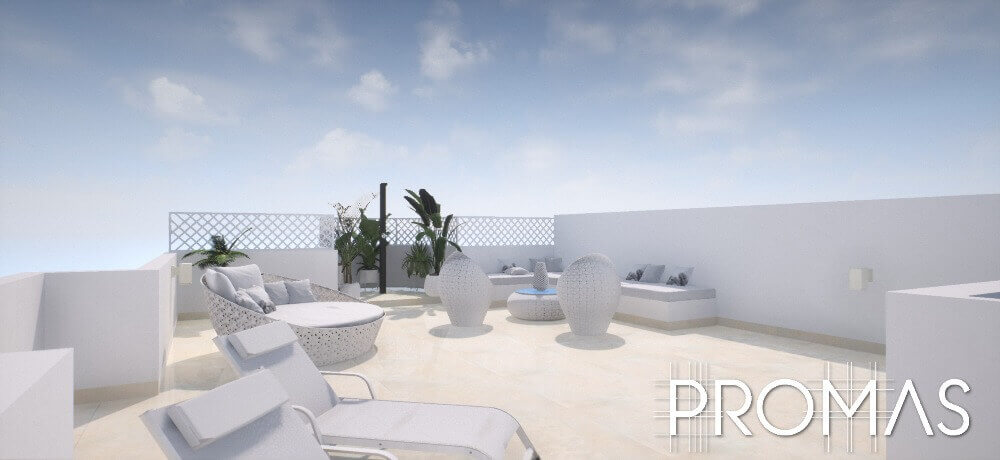 Stylish white rooftop 3d design by ProMas