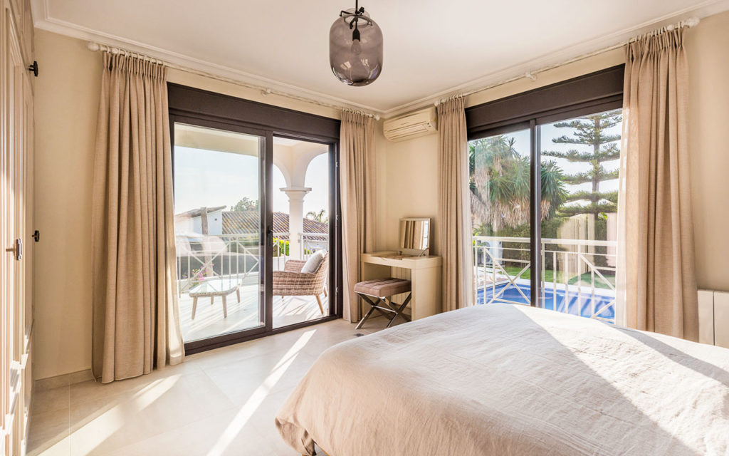 Beautiful light filled bedroom with pool views in Costa del Sol