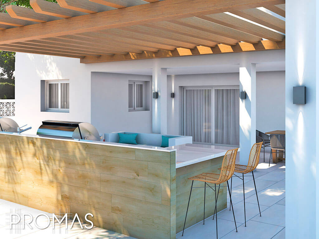 3D design for stylish light timber and white outdoor kitchen and living in Mijas, Costa del Sol