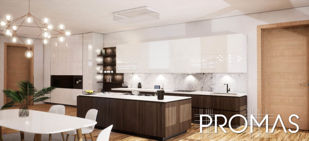 Stylish modern kitchen 3D design in brown and white