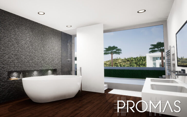 3D design for luxurious bathroom with stand alone bath in Marbella