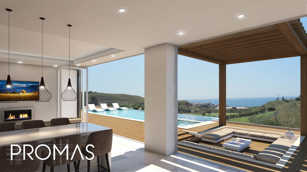 Open plan kitchen 3D design overlooking pool, chillout and sea