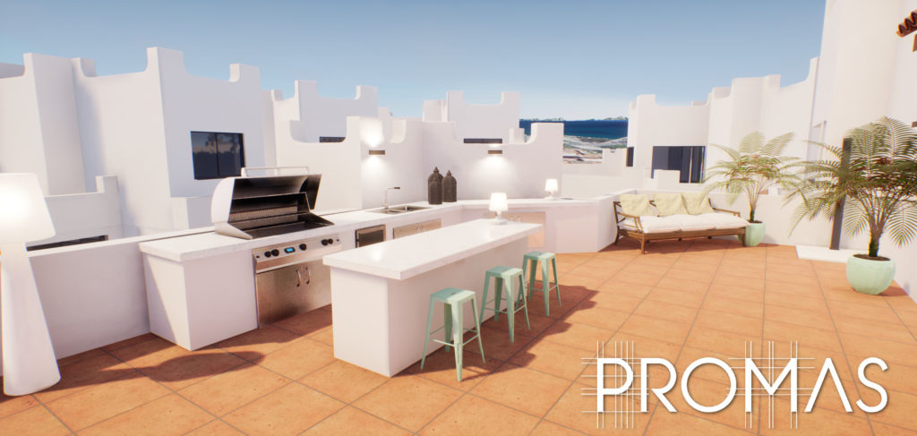 3D design for stylish white Spanish rooftop kitchen and chillout zone