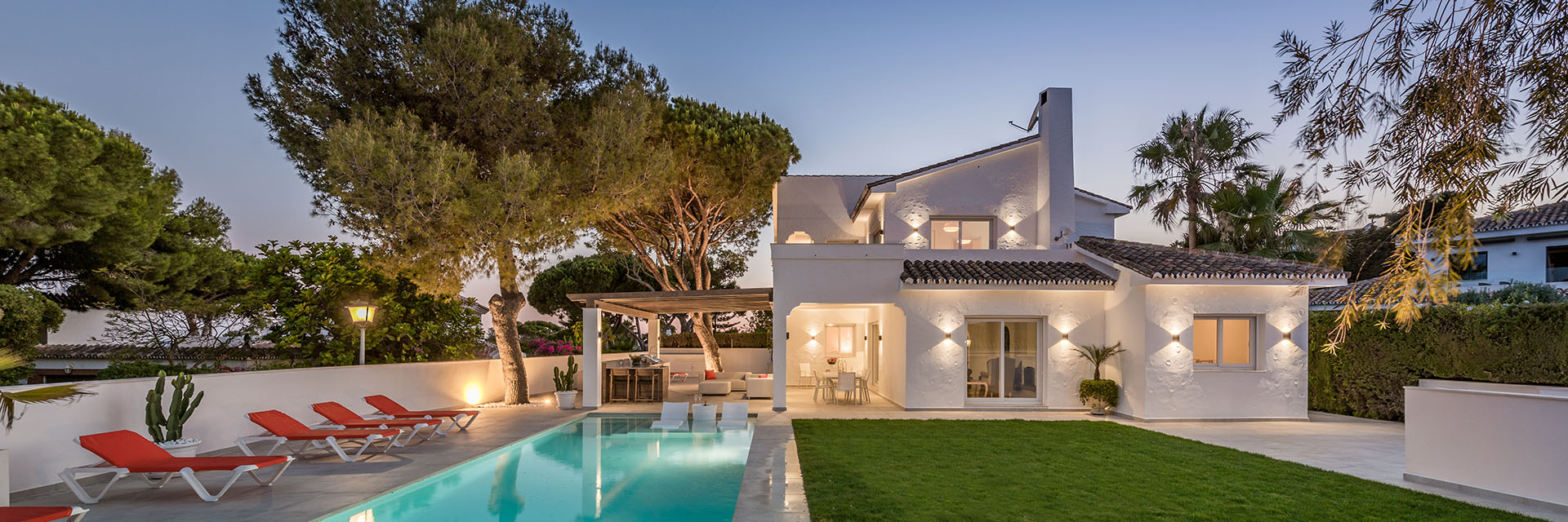 Stylish refurbished villa in Mijas with outdoor kitchen and pool chairs