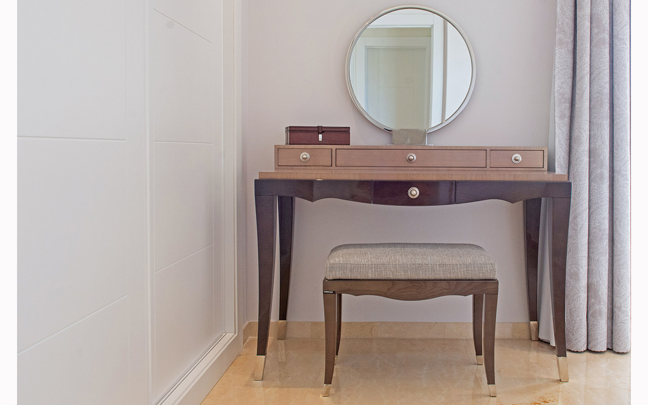 Stylish dressing table with mirror and built in wardrobe