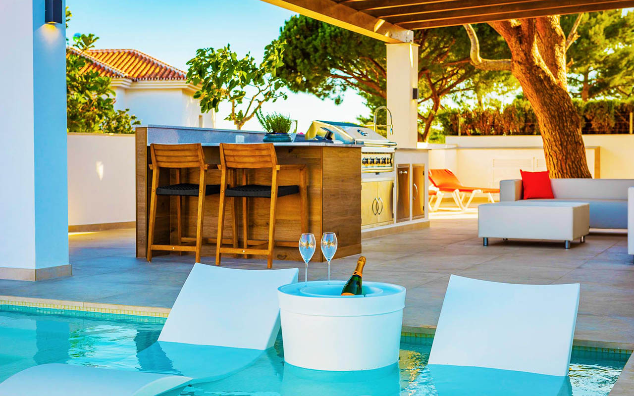 Luxury pool chair and chillout zone in Mijas, Costa del Sol