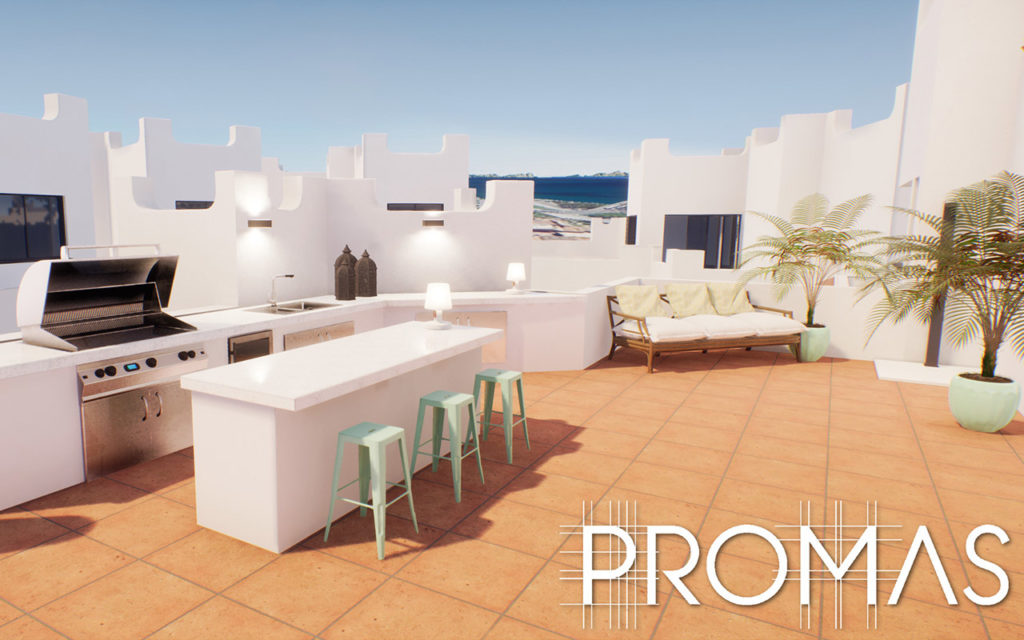 3D design for Spanish style rooftop kitchen in Marbella