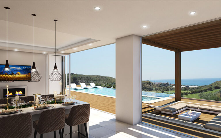 Stunning dining area and infinity pool with views 3d by ProMas