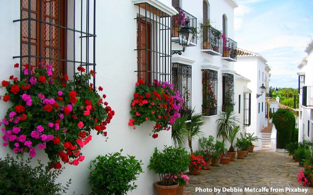 Typical Andalusian old town street in Marbella