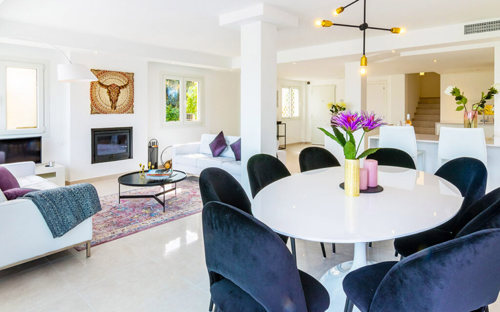 Stylish white and deep blue and purple living room design