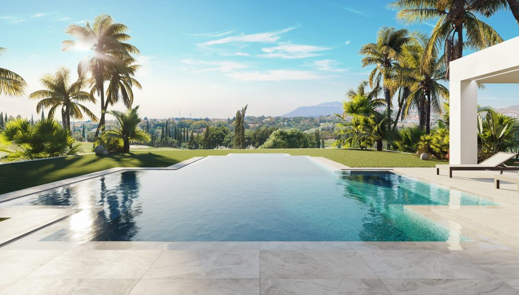 Glorious pool in a villa currently for sale in Benahavís