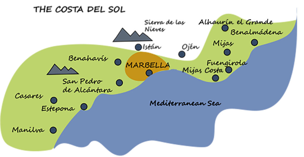 Map of the Costa del Sol by ProMas