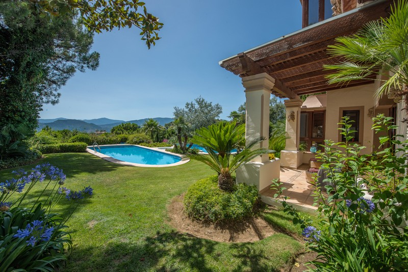 Pool of luxury secluded villa currently for sale in La Zagaleta