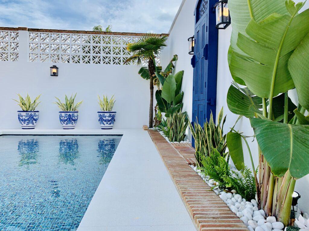 Stylish landscaping around the pool